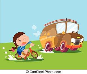 children girl ride bicycle uptight