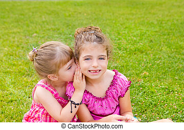 children girl sister friends whispering ear