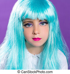 Children girl with blue turquoise long wig as fashion doll