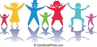 children., glücklich, leute