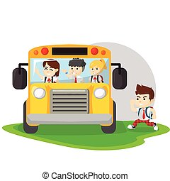 Children go to school with bus