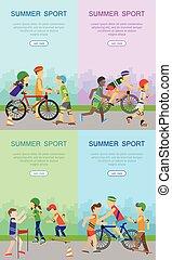 Children Going in for Sport Web Banner Poster Set - Summer...