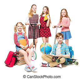 Children Going to Summer Camp, End of Education, Pupils Kids Group Isolated over White