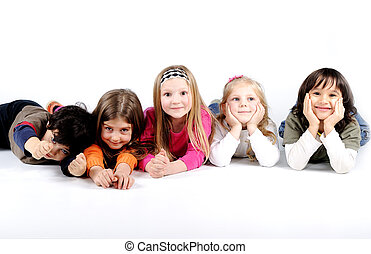Children group family laying isolated