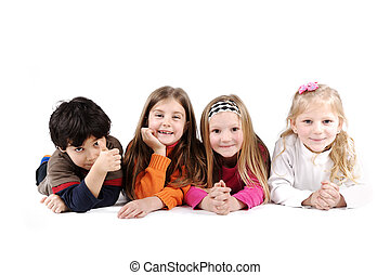 Children group family laying on floor ground isolated