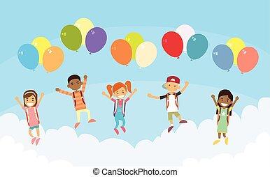 Children Group Fly Sky Hold Balloons