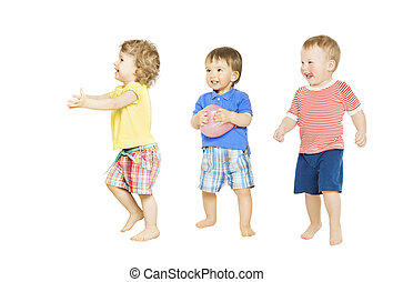 Children group playing toys. Small Kids and Baby isolated white
