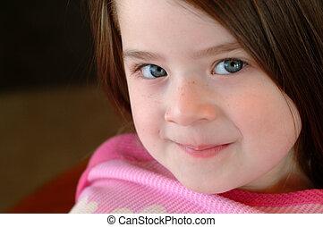 children-, gyönyörű, leány