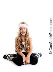 Children gym little blond girl posing in studio