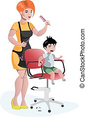 Children hairdresser little boy master