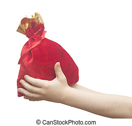 children hand holding a sack isolated on white background