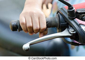 Hand on the Throttle. - Children Hand on the Throttle.