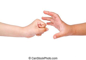Rock Paper Scissors game - children hand , Rock Paper...