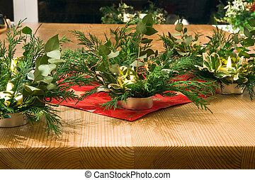 Children handmade christmas table decoration