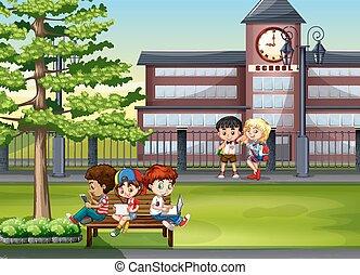 Children hanging out at school illustration