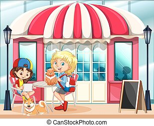Children hanging out at the cafe illustration
