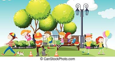 Children hanging out at the park illustration