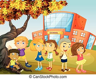Children hanging out at the school campus illustration