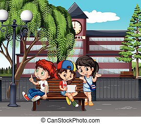Children hanging out at the school illustration