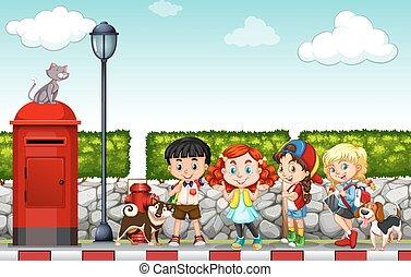 Children hanging out at the side walk illustration