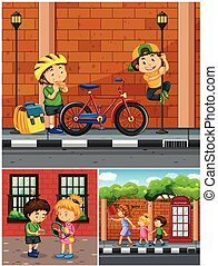 Children hanging out in the neighborhood illustration