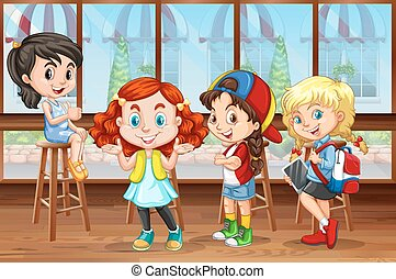 Children hanging out in the restaurant illustration
