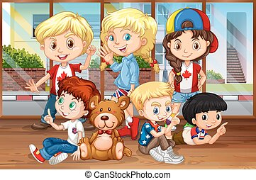 Children hanging out in the room illustration