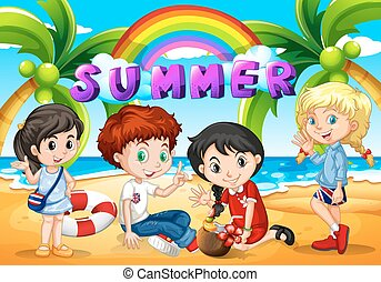 Children hanging out on the beach illustration