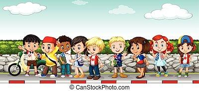Children hanging out on the sidewalk illustration