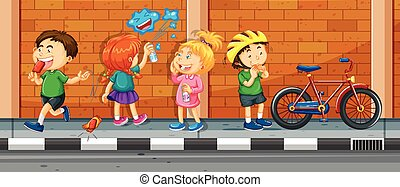 Children hanging out on the street illustration
