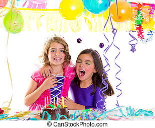 children happy hug in birthday party laughing with baloons...