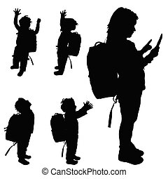 children happy set silhouette illustration