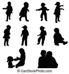 children happy silhouette illustration
