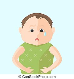 Children have an abdominal pain. Character in Flat style ...