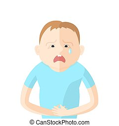 Children have an abdominal pain. Character in Flat style vector illustration