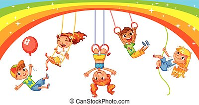 Playground. Kid weighs on the rings upside down. Climbing up along the rope. Swinging on swing