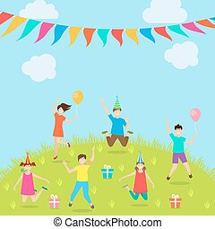 Children Have Fun Party. Amusement Park. Active Kids Jumping