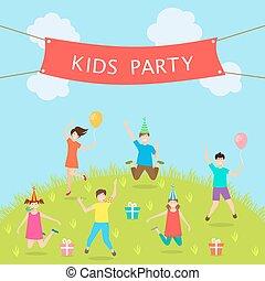 Children Have Fun Party. Leisure and Entertainment. Amusement Park. Active Kids Jumping