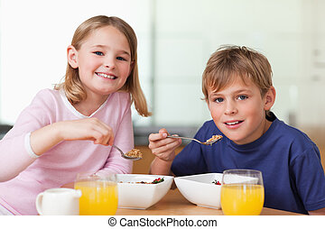 Children having breakfast