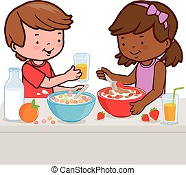 Children having breakfast. Vector illustration