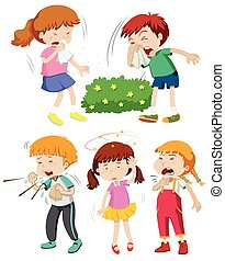 Children having cold and fever illustration