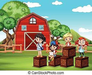 Children having fun in the barn