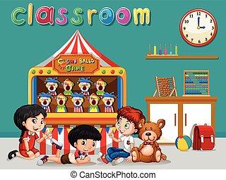 Children having fun in the classroom