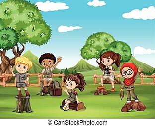 Children having fun in the field