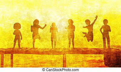 Children Having Fun in the Sun by the Beach