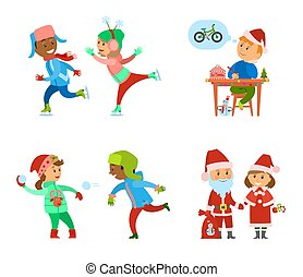 Children Having Fun on Christmas Holidays Days