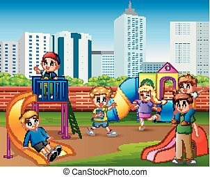 Children having fun with family in the playground