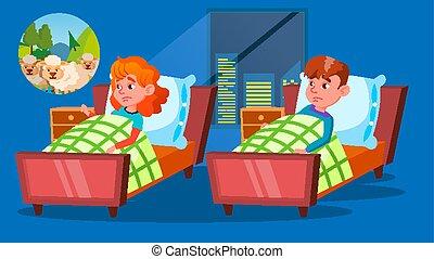 Children Having Insomnia Problem Cartoon Vector Characters