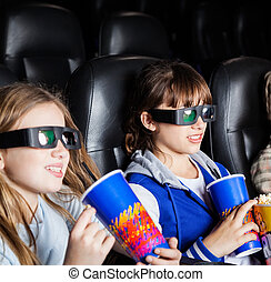 Children Having Snacks In 3D Cinema Theater