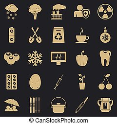 Children health icons set, simple style
